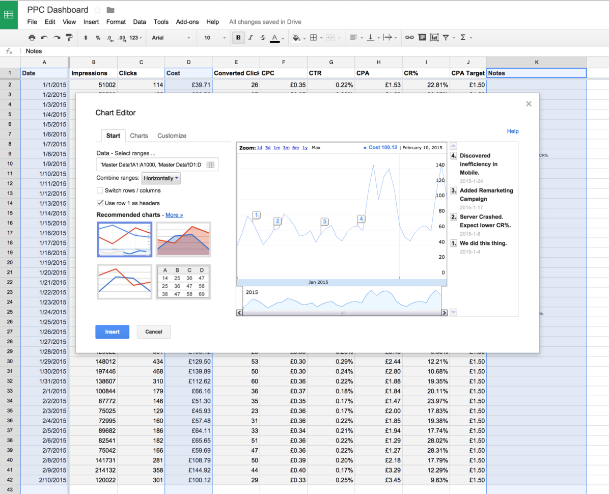 Google Adwords Spreadsheet Template For Ppc Command Center In Google Sheets  Opteo Help Centre