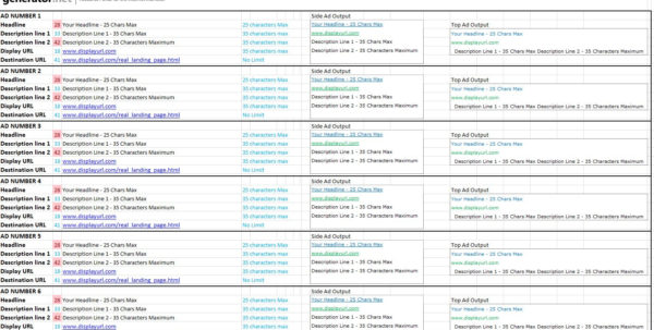 Google Adwords Spreadsheet Template Pertaining To A Spreadsheet For Building Adwords Copy  Generator