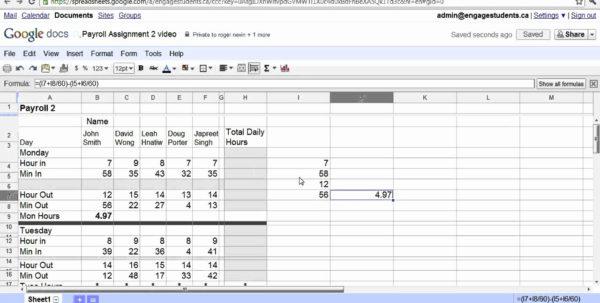 Google Docs Spreadsheet Tutorial With Regard To Google Spreadsheet Tutorial Then Google Docs Spreadsheet Payroll 2