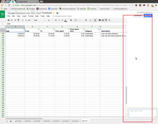 Google Drive Spreadsheet Regarding How I Hide The Chat Window In Google Drive Spreadsheet?  Super User
