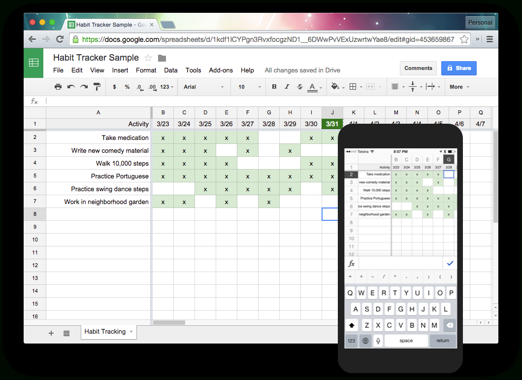 Google Excel Spreadsheet Intended For Tracking Habits With Google Sheets – Harold Kim – Medium