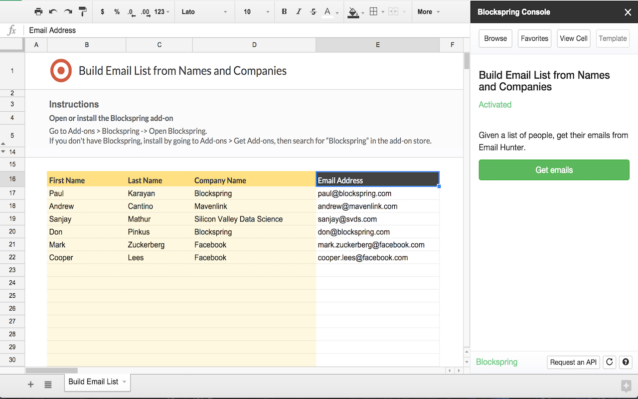 Google Sheets Spreadsheet In Build Email List From Names And Companies  Spreadsheet Template In