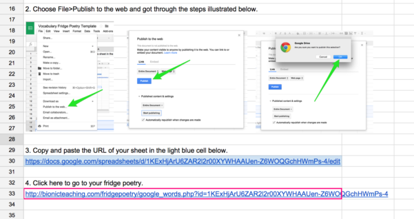 Google Spreadsheet As Database For Website For Fridge Poetry – Google Sheets As Database – Bionic Teaching