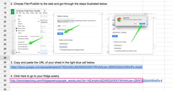 Google Spreadsheet As Database For Website For Fridge Poetry – Google Sheets As Database – Bionic Teaching