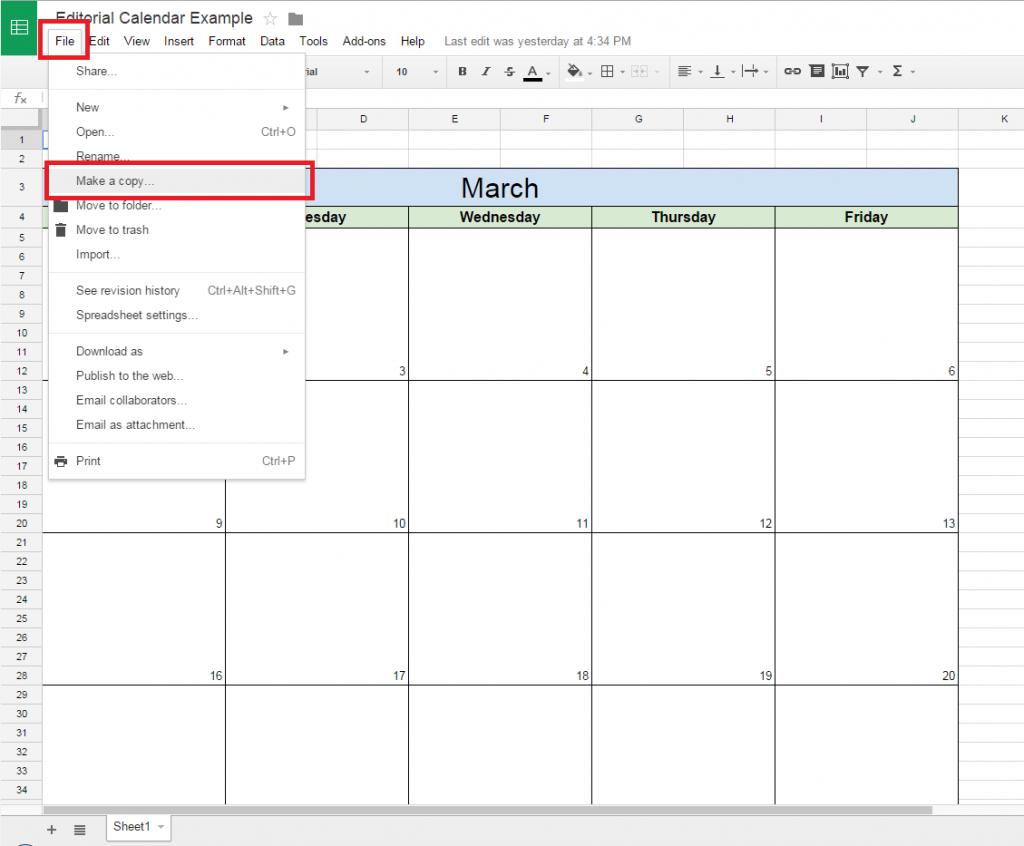 Google Spreadsheet Calendar In How To Create A Free Editorial Calendar Using Google Docs  Tutorial