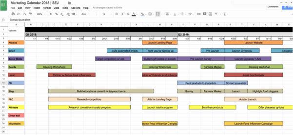 Google Spreadsheet Calendar Template 2018 Intended For Google Doc Calendar Template 2018 New Marketing Calendar Template