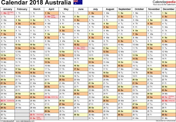 Google Spreadsheet Calendar Template 2018 Throughout Australia Calendar 2018  Free Printable Excel Templates