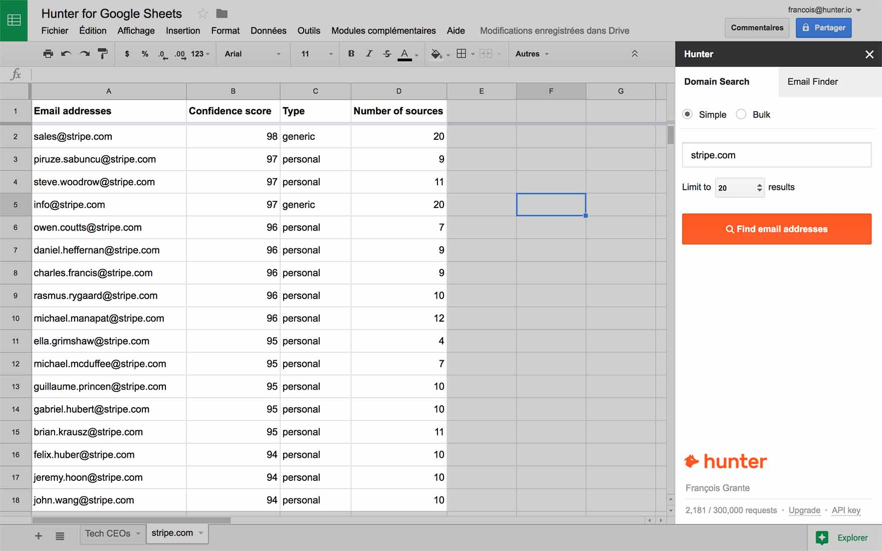 Google Spreadsheet Find With Regard To Hunter For Google Sheets