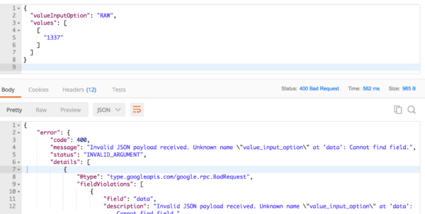 Google Spreadsheet Json Api Inside Update A Google Sheet Using Http Request In Postman  Stack Overflow