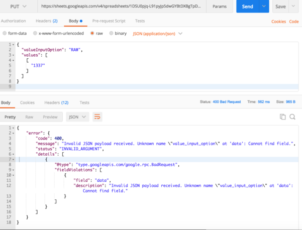 Google Spreadsheet Json Api Inside Update A Google Sheet Using Http Request In Postman  Stack Overflow