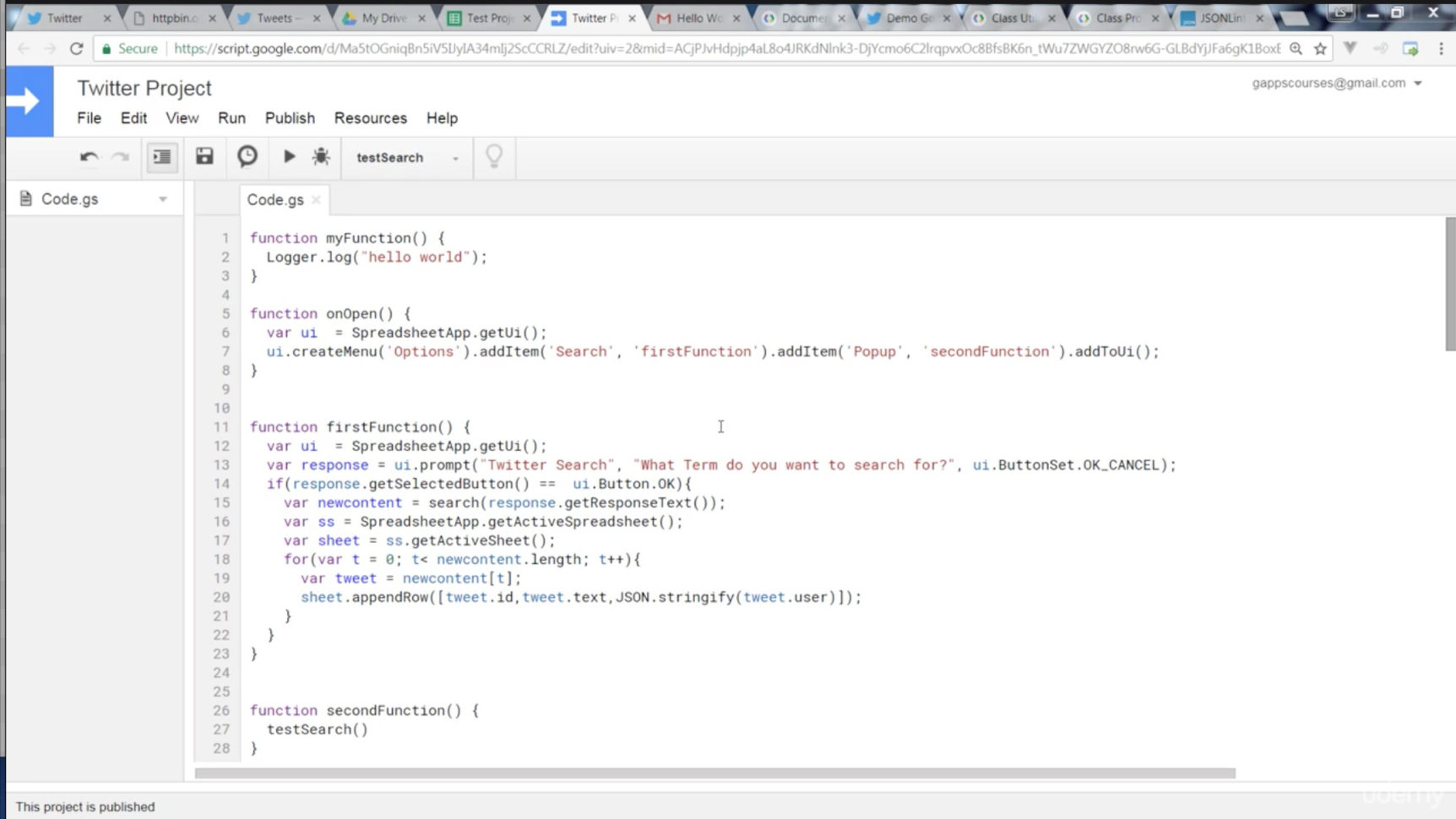 Google Spreadsheet Json Api Throughout Google Script Application Connecting To Twitter Api And More  Udemy