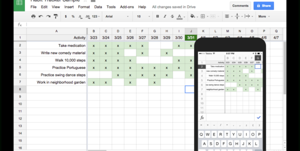 Google Spreadsheet Maken With Regard To Tracking Habits With Google Sheets – Harold Kim – Medium