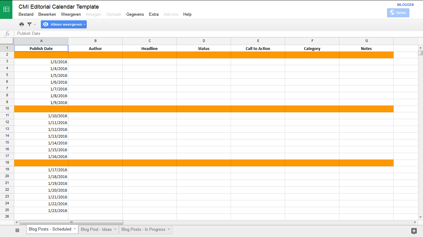 Google Spreadsheet Maken Within Gratis Content Kalenders Die Je Uren Werk Schelen  Mldr Communicatie