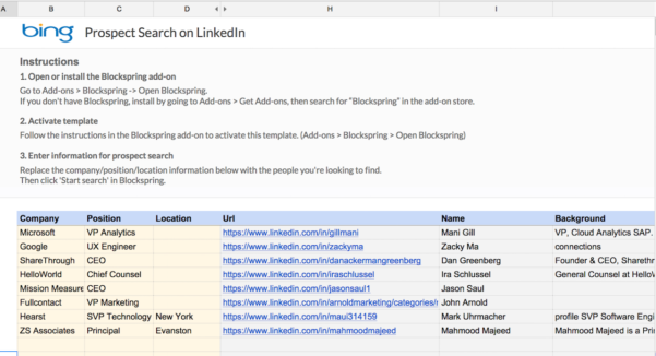 Google Spreadsheet Search Pertaining To Prospect Search On Linkedin  Spreadsheet Template In Google Sheets