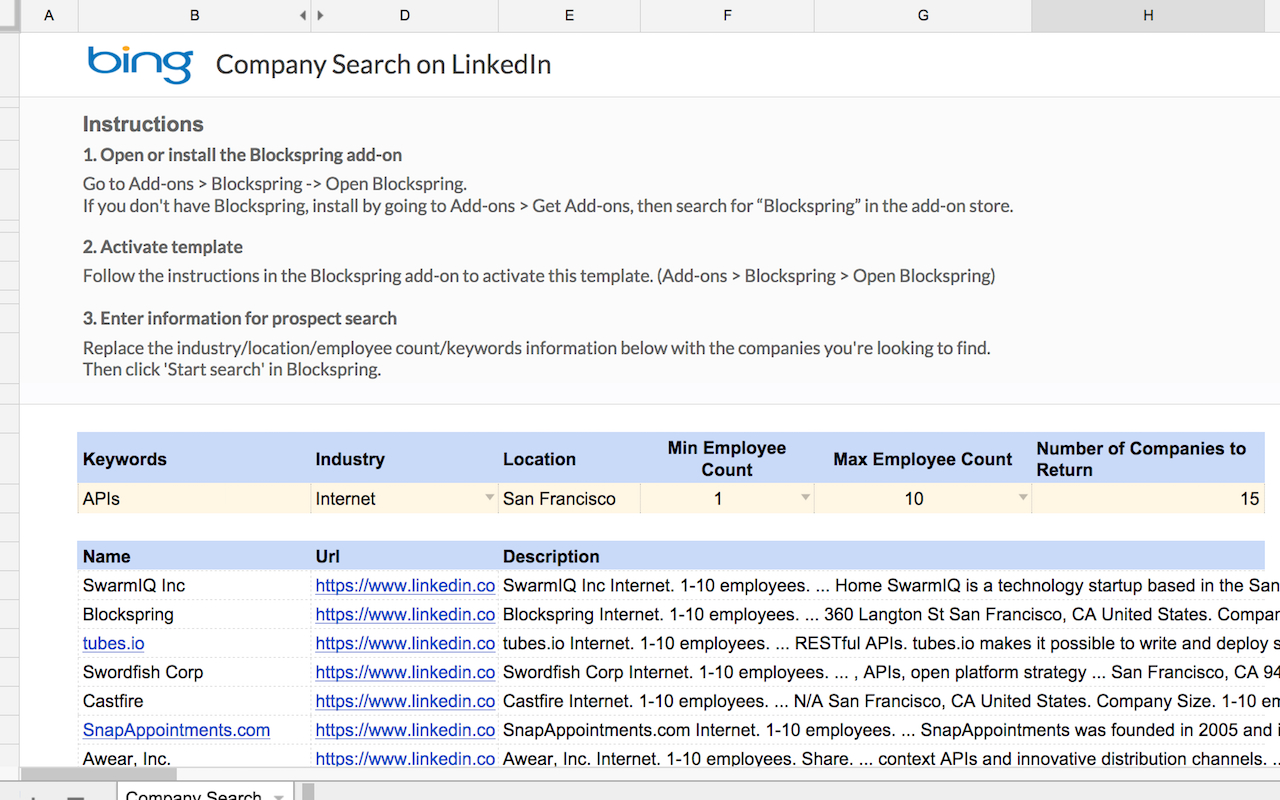 Google Spreadsheet Search Throughout Company Search On Linkedin  Spreadsheet Template In Google Sheets