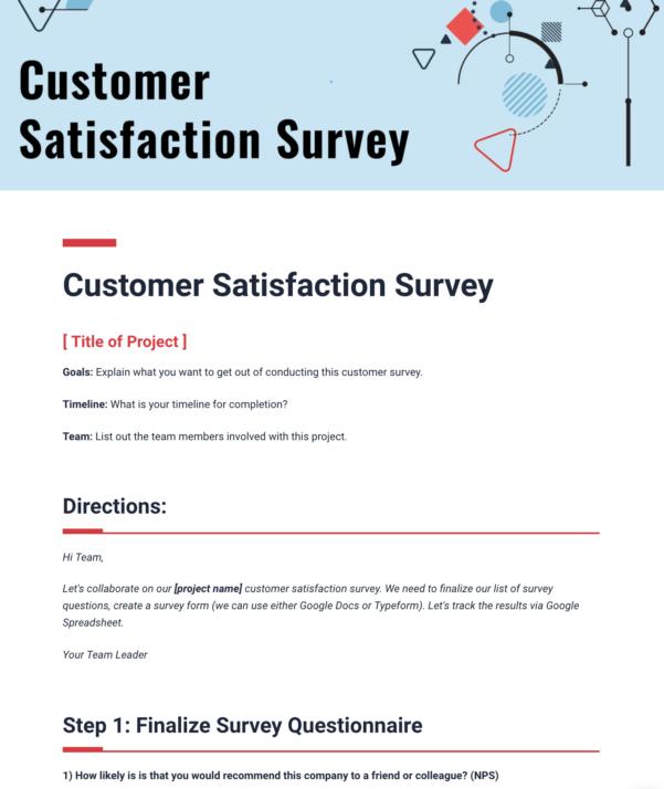 Google Spreadsheet Survey Form In Customer Satisfaction Survey Template  Bit.ai  Document