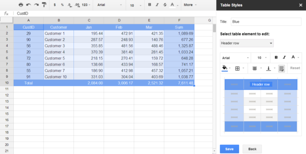 Google Spreadsheet Templates Create Inside Table Styles Addon For Google Sheets