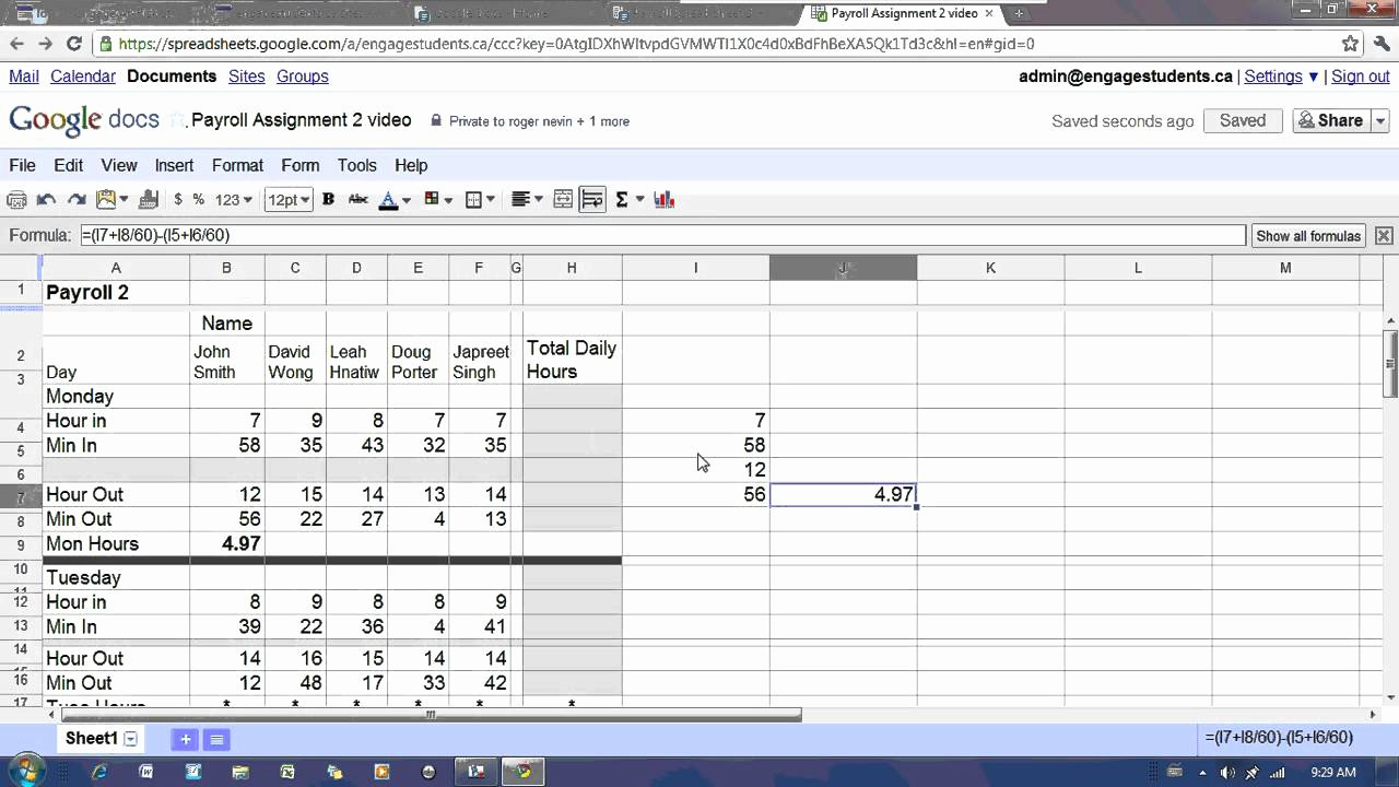 Google Spreadsheet Tutorial Throughout Google Spreadsheet Tutorial Then Google Docs Spreadsheet Payroll 2
