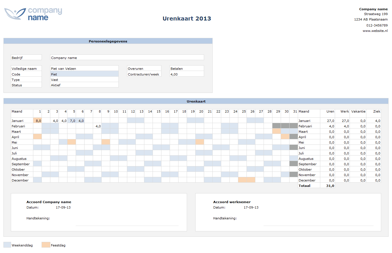Google Spreadsheet Urenregistratie Intended For Urenregistratie Personeel In Horeca Of Winkels