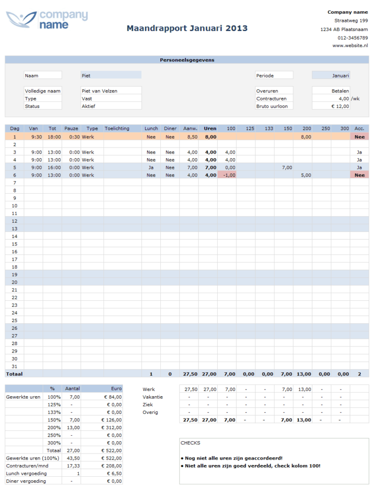 Google Spreadsheet Urenregistratie Within Urenregistratie Personeel In Horeca Of Winkels