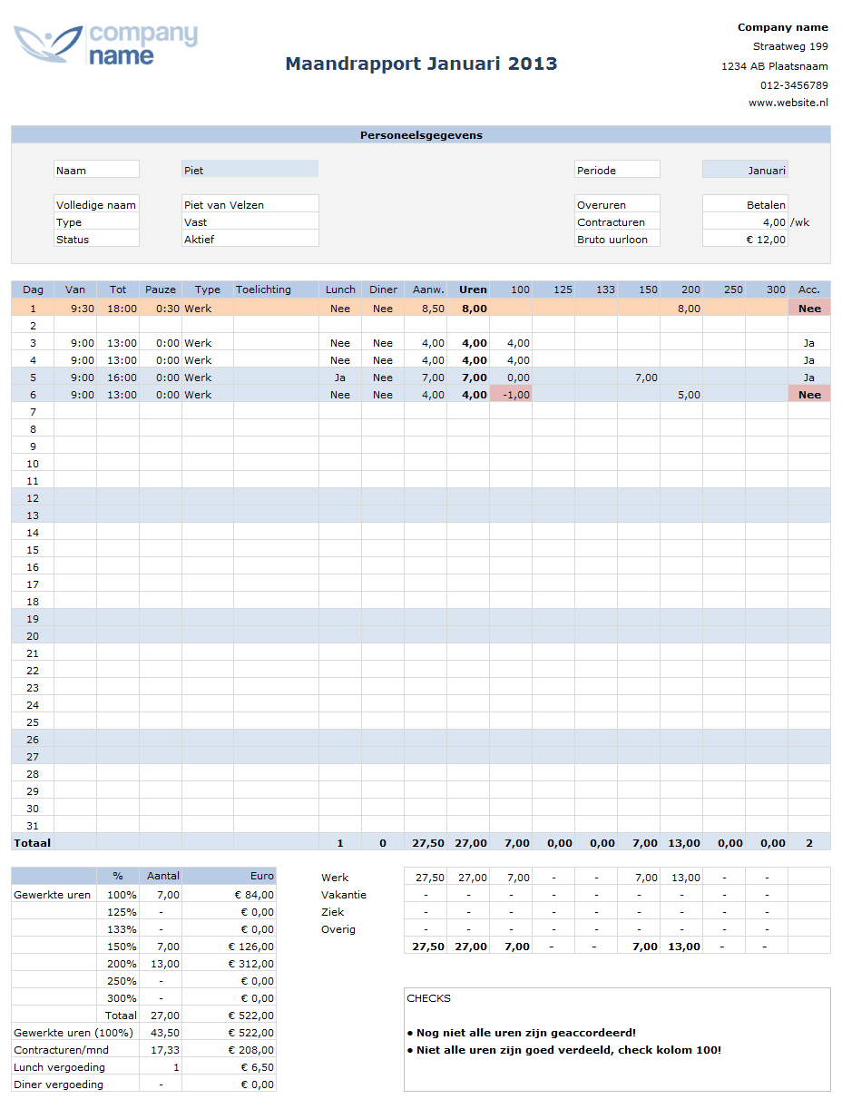 Google Spreadsheet Urenregistratie Within Urenregistratie Personeel In Horeca Of Winkels