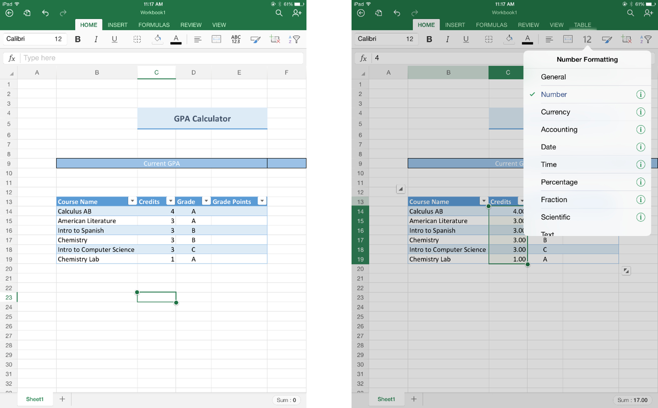 Gp Calculator Spreadsheet In Excel For Ipad Helps Students Stay On Top Of Their Gpa  Microsoft