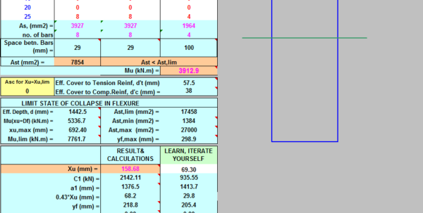 Grade Beam Design Spreadsheet Within Design Of Rcc T Beams As Per Is 4562000