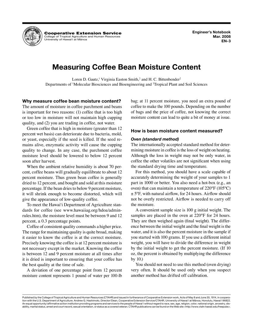 Grain Moisture Spreadsheet With Pdf Measuring Coffee Bean Moisture Content