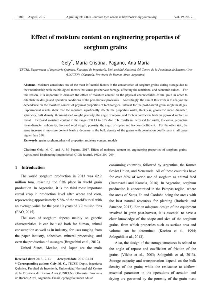Grain Moisture Spreadsheet Within Pdf Effect Of Moisture Content On Engineering Properties Of Sorghum