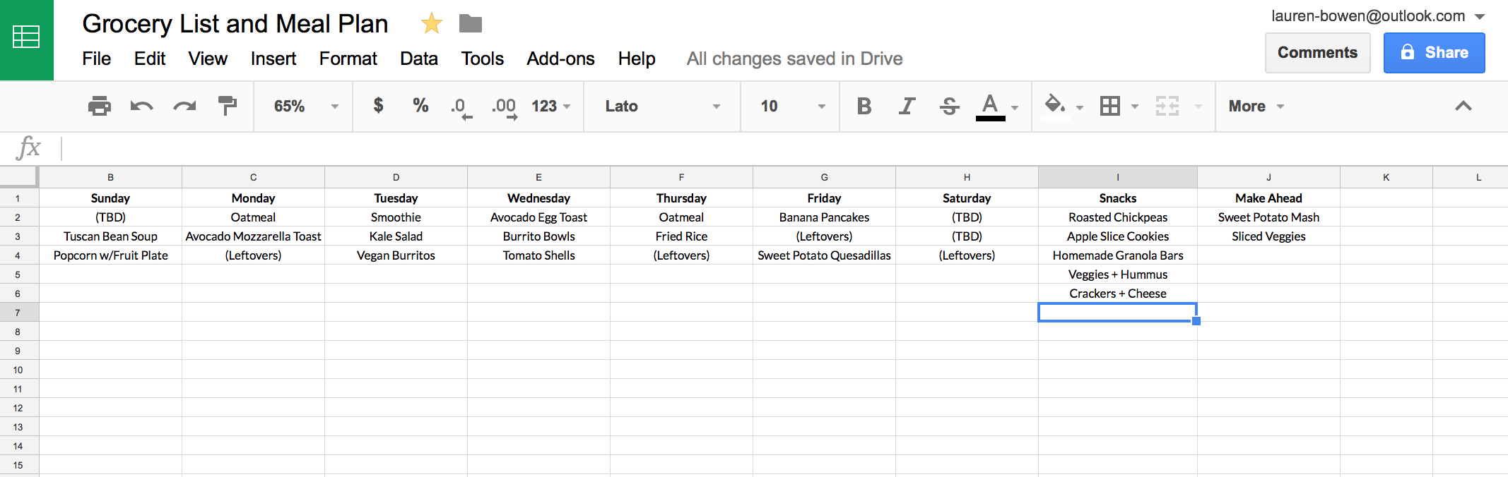 Grocery List Spreadsheet Pertaining To How I Use Google Sheets For Grocery Shopping And Meal Planning