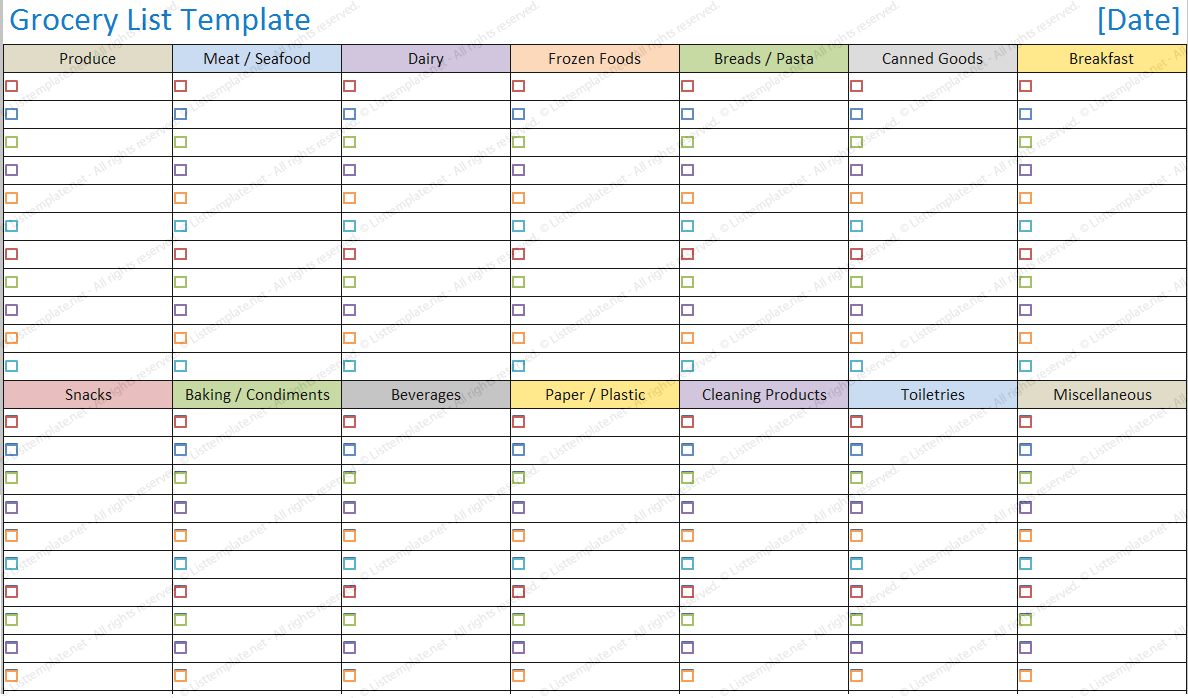 Grocery List Spreadsheet With Blank Grocery List Template  List Templates