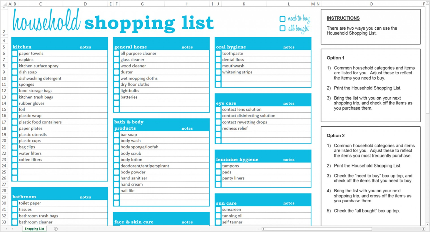 Grocery List Spreadsheet Within 007 Household Shopping List Excel Template Savvy Spreadsheets