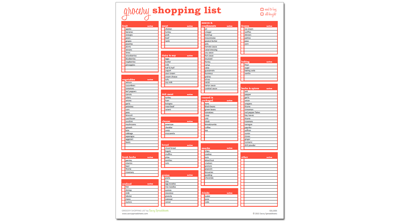 Grocery Spreadsheet Template Inside Grocery Shopping List  Excel Template  Savvy Spreadsheets