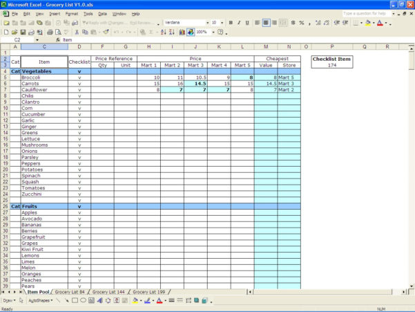 Grocery Spreadsheet Template Within Excel Grocery  Rent.interpretomics.co