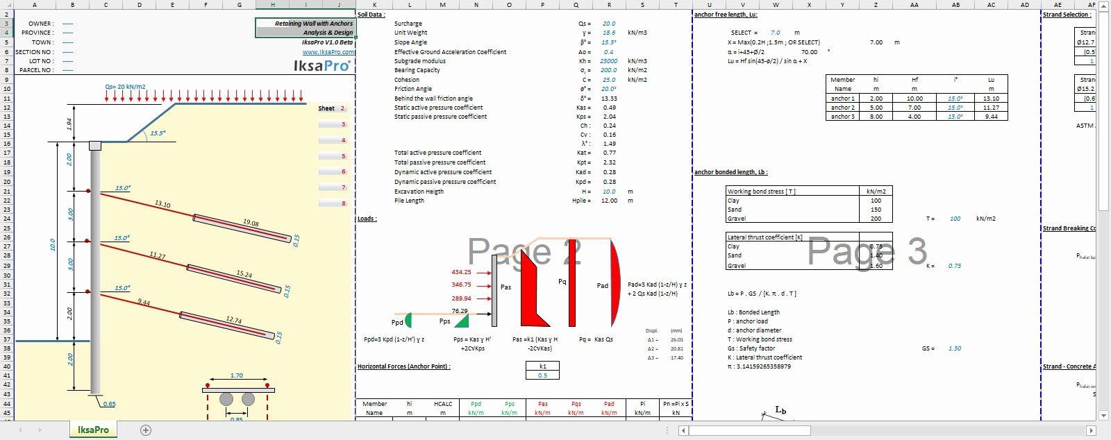 Ground Anchor Design Spreadsheet With Ground Anchor Design Spreadsheet Sheet Designeet Elegant Retaining