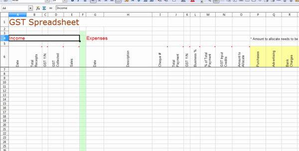 Gst Spreadsheet Template Australia In Tax Return Spreadsheet – Theomega.ca