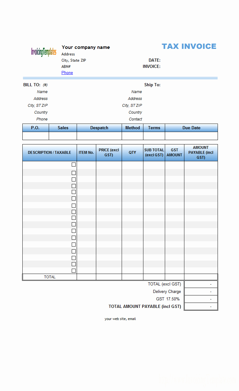 Gst Spreadsheet Template Canada Throughout Invoice Template Excel Australia Sole Trader Invoice Template