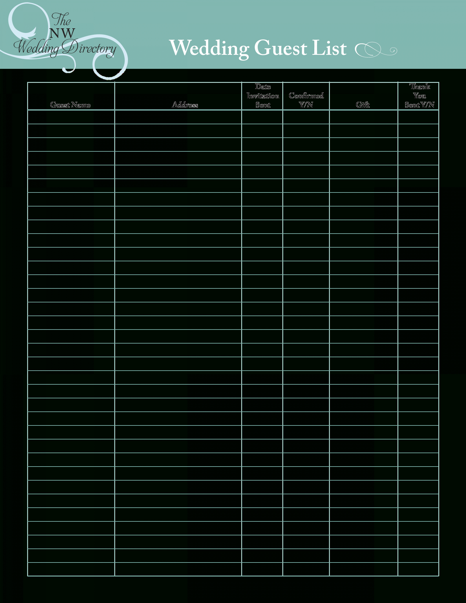 Guest List Spreadsheet For Free Wedding Guest List  Templates At Allbusinesstemplates