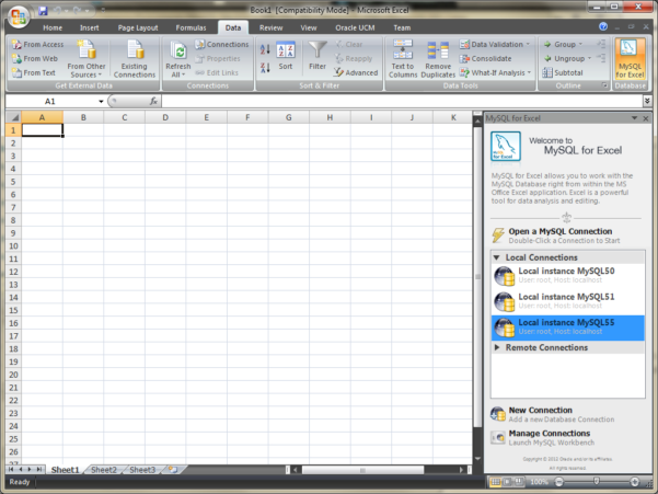 Gui For Excel Spreadsheet Throughout Mysql :: Mysql For Excel