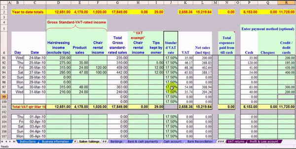Hairdresser Bookkeeping Spreadsheet Regarding Salon Bookkeeping Spreadsheet  Laobing Kaisuo