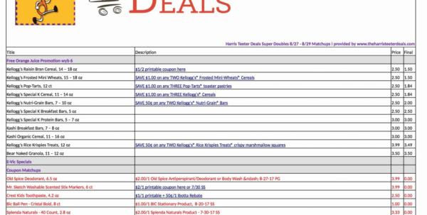 Harris Teeter Coupon Spreadsheet Within Couponbase Spreadsheet Sheet Examples Harris Teeter Matchups App