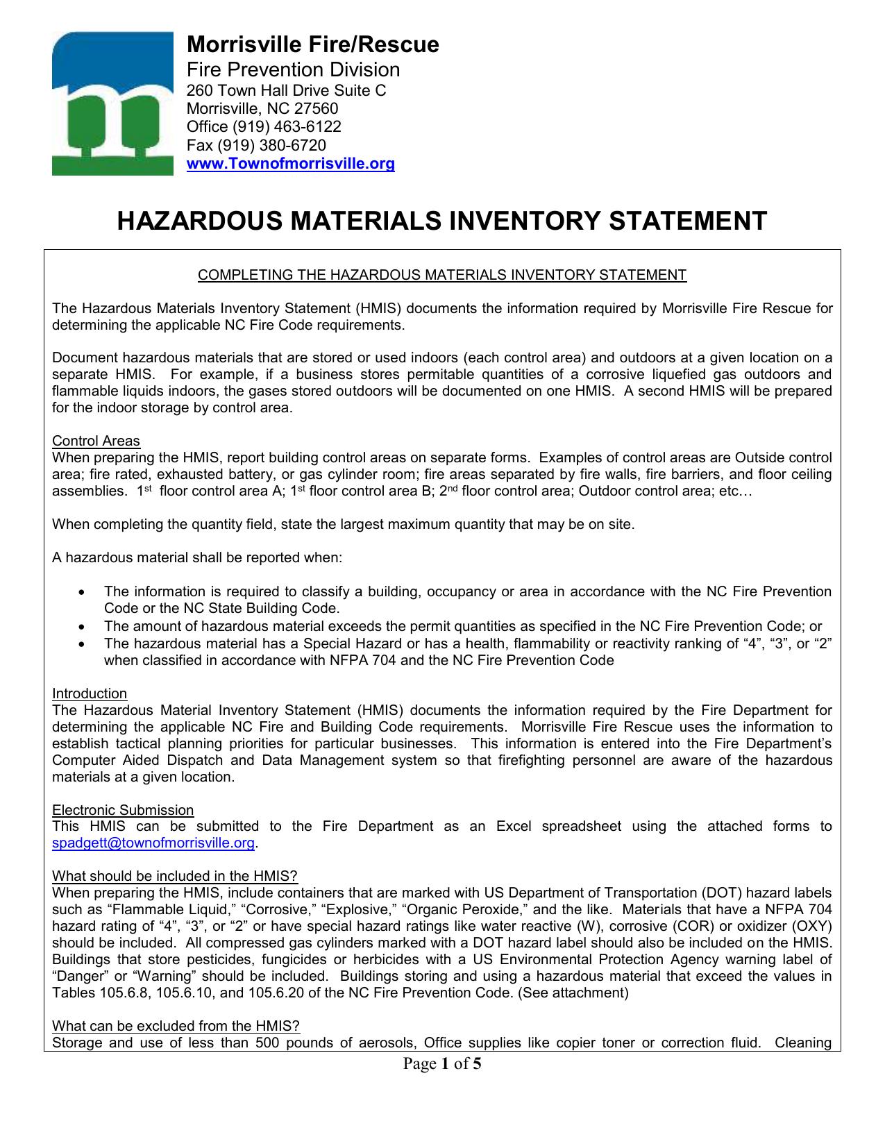 Hazardous Material Inventory Spreadsheet Inside Hazardous Materials Inventory Statement