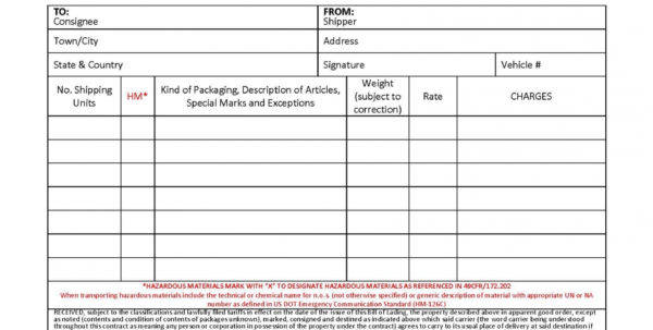 Hazardous Material Inventory Spreadsheet Intended For Hazardous Materials Bill Of Lading Template 40 Free Forms Templates