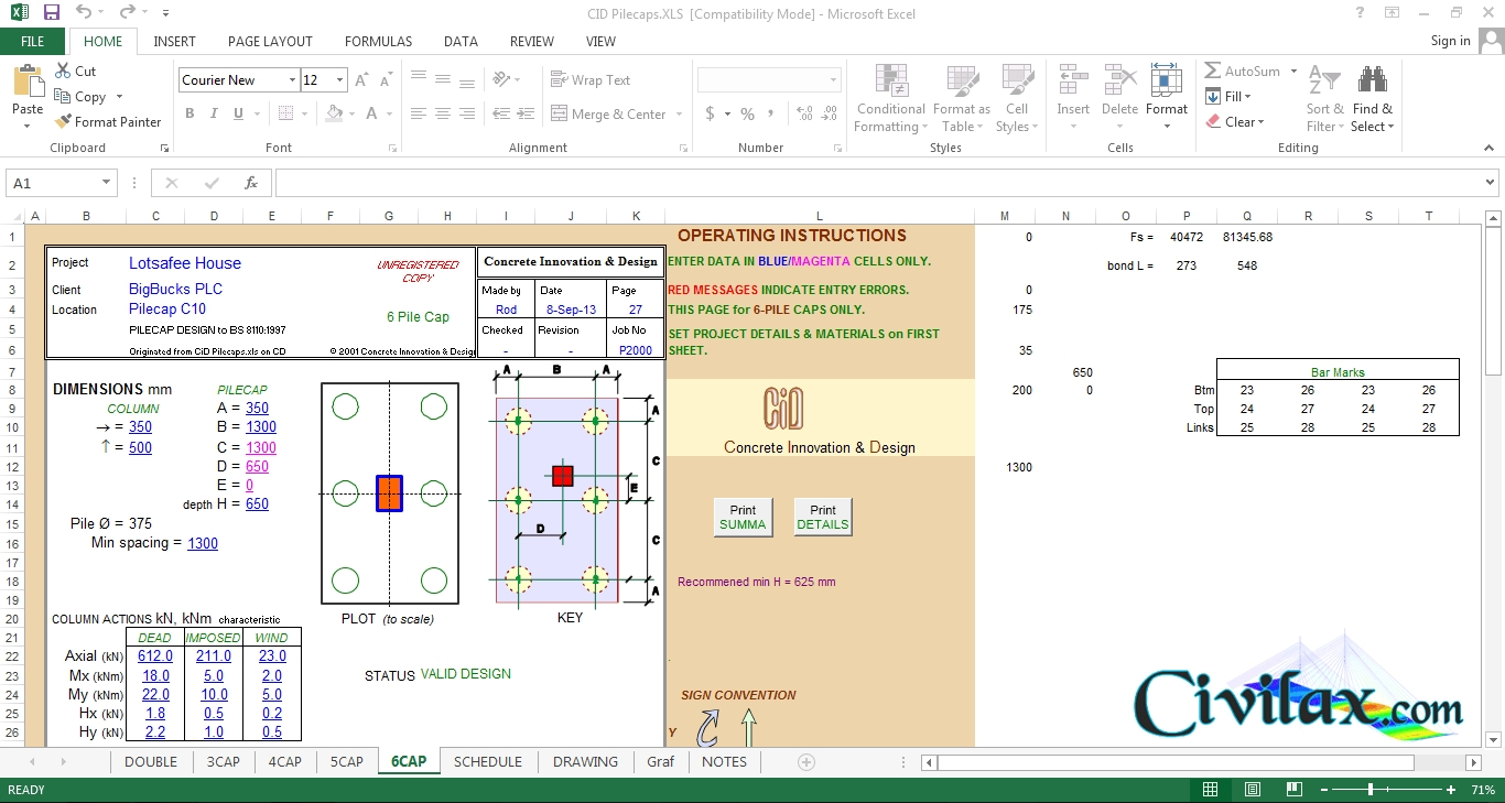 Helical Pile Design Spreadsheet Pertaining To Helical Pile Design Software And Pile Cap Design Spreadsheet