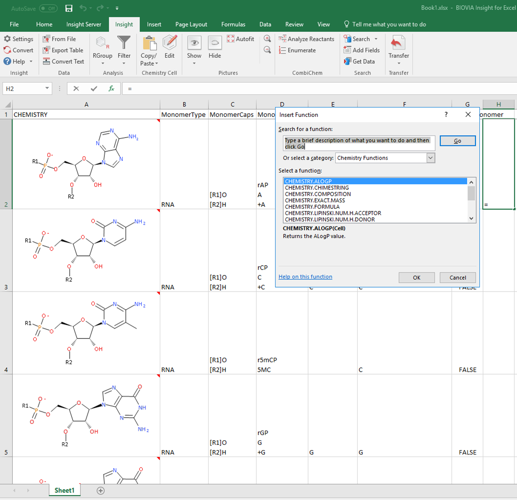 Help In Excel Spreadsheet With Biovia Insight For Excel
