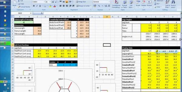Hexabot Spreadsheet Intended For Hexapod Robot Inverse Kinematics Excel Spreadsheet Simulation