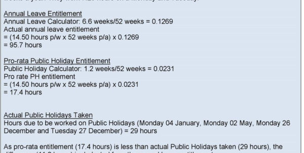 Holiday Entitlement Calculator Spreadsheet In Calculating Holiday Entitlement. Guidance  Pdf