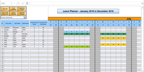Holiday Entitlement Calculator Spreadsheet Regarding The Staff Leave Calendar. A Simple Excel Planner To Manage Staff