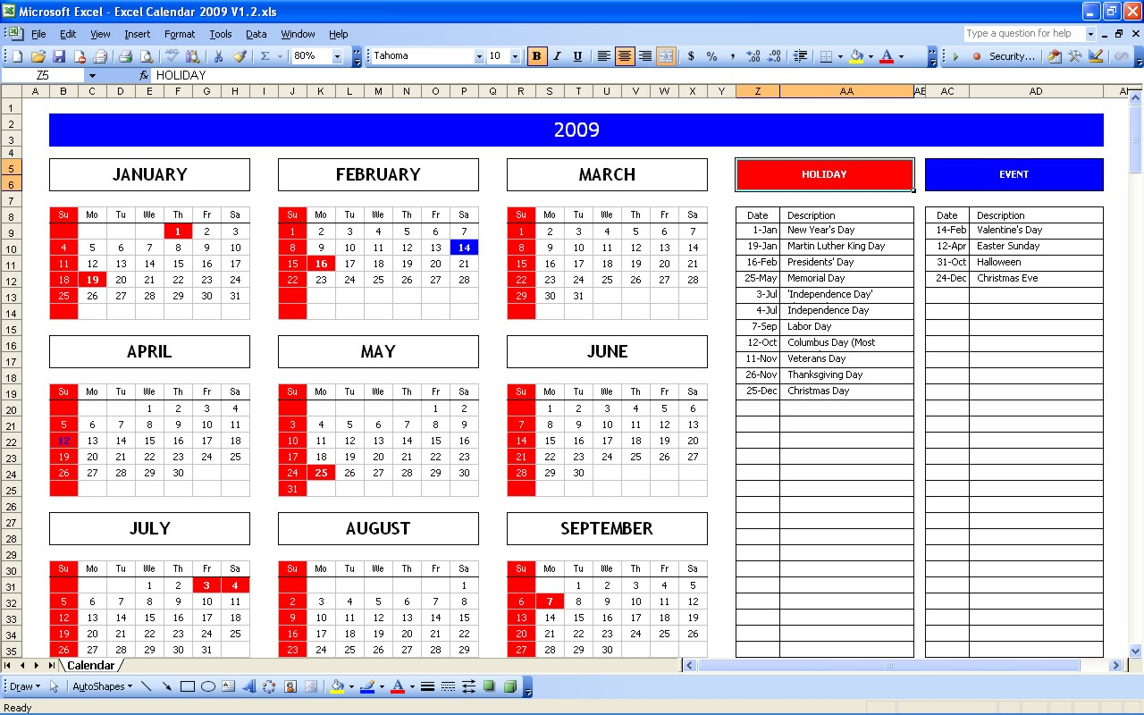 Holiday Excel Spreadsheet Regarding Top 5 Excel Yearly Calendar – Excel Spreadsheet