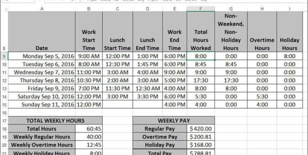 Holiday Pay Calculator Spreadsheet In Working With Date And Time Functions  Harnessing The Power Of